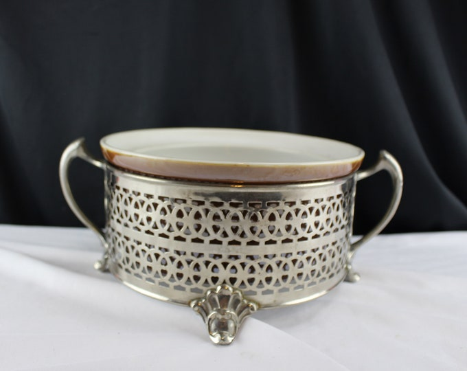 Vintage Chrome Reticulated Round Casserole Holder J. Mara Specialty Co.-Ohio #153 Brown Baking Dish