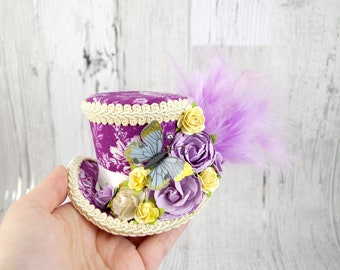 Purple. Blue, and Yellow Butterfly with Paper Flowers Small Mini Top Hat Fascinator, Alice in Wonderland, Mad Hatter Tea Party, Derby Hat