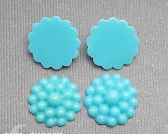 C0022 - Pendant Connector, Turquoise Colored , Bubble Flower Back Cabochon , 4 Pieces