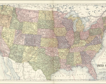 Poster, Many Sizes Available; Map Of The United States Of America 1914