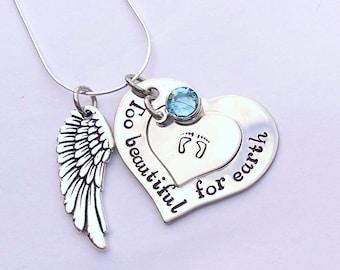 Personalised memorial gift - Too beautiful for earth - memorial jewellery - angel wing gift - baby memorial gift - bereavement jewellery