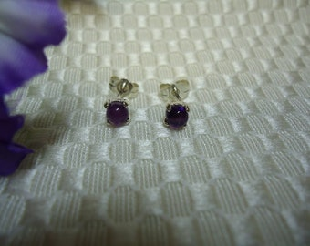 Round Cabochon Amethyst Earrings in Sterling Silver   #712