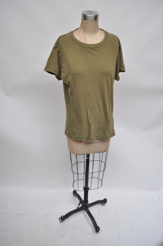 vintage tshirt ARMY shirt distressed 1980s oversized boyfriend t-shirt green W9SpZwCn8b