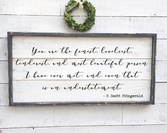 F Scott Fitzgerald quote sign, vintage wood sign