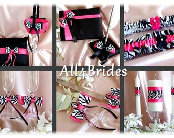 Zebra Wedding Flower girl basket, ring pillow, guest book, garters, candle, flutes, cake set, 13pc Hot Pink Wedding Color
