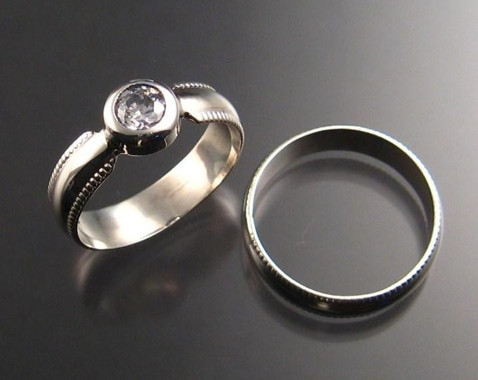 Mans White CZ grooms wedding ring set Sterling silver made to order in your size