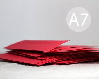 "25 5x7 Bright Red Envelopes - A7 Red Envelopes (true size 5 1/4"" x 7 1/4"") - A7 Red Envelopes - DIY Christmas Card Envelopes"