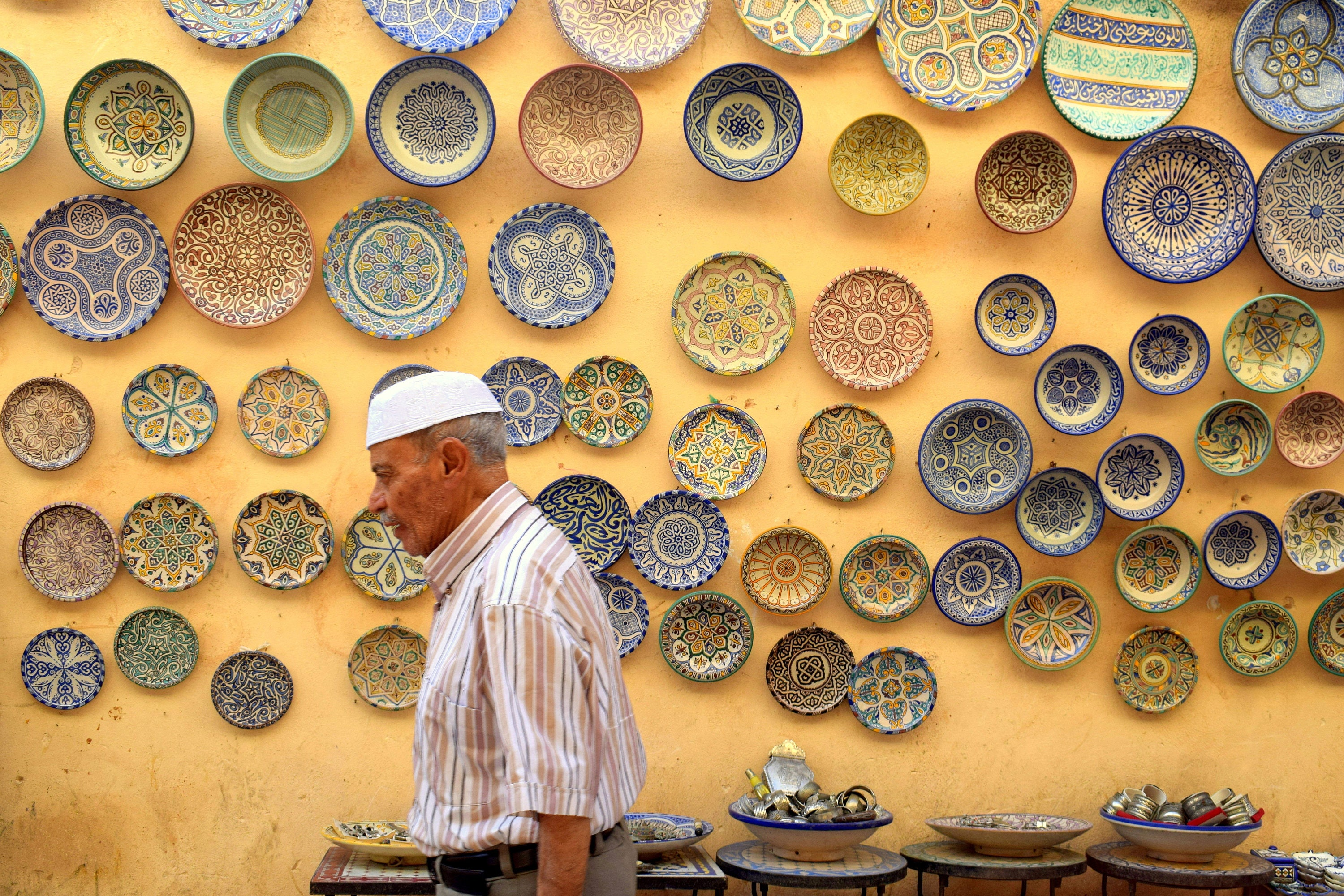 Vintage Decorative Plates Yellow Morocco Street Photography