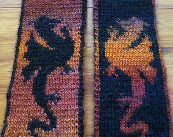 Knitting Pattern - Fire Dragon Scarf