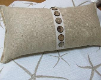 Burlap Buttoned up 10x20 pillow