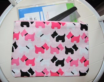 Pink Pouch Toiletry bag Toiletry organizer for dogs with Scottish terriers