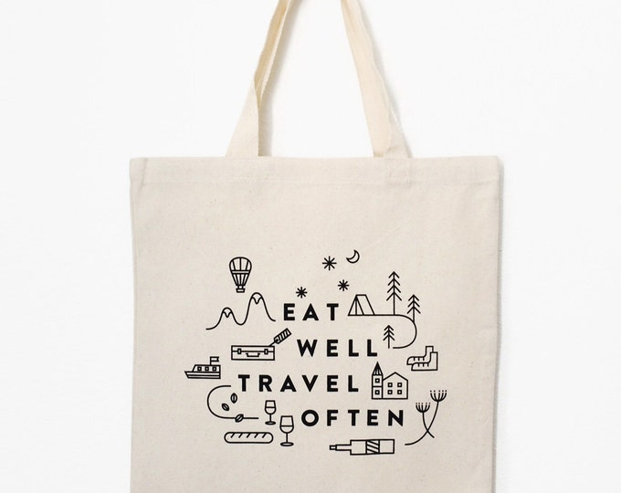 "Eat Well Travel Often Tote Bag (Natural) | 15""x 16"" 
