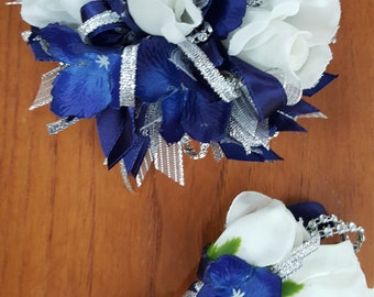 Silk Wrist Corsage and Boutonniere Set in Royal Blue, White