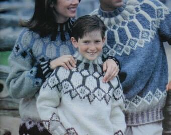 Sweater Knitting Patterns Icelandic Beehive Patons  Lopi 742 Bulky Weight Yarn Vintage Paper Originals not PDF