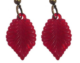 50s 40s Vintage Style Red Autumn Leaf Earrings Rockabilly Pinup Pin up 1950s 1940s Celluloid Midcentury Fall VLV