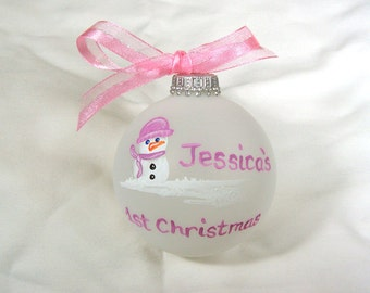 Snowman Baby Girl First Christmas Ornament