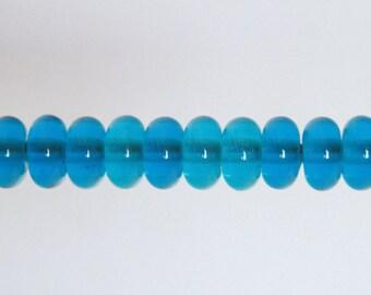 Transparent Turquoise Destash Lampwork Orphan Glass Beads - 10 Donut Spacers