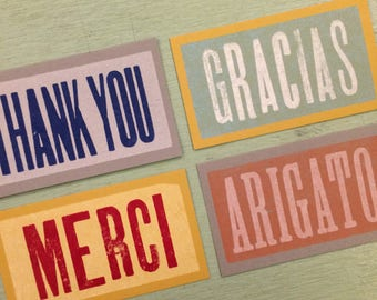 THANK YOU notes in 4 languages 40 tiny cards Letterpress Notes French cards Spanish notes Merci notes Gracias tags Arigato thank you notes