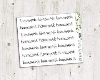 Homework Script - ECLP, Happy Planner, TN Planner Stickers