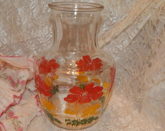 1950s 60s Anchor Hocking pressed Glass Water Jug, Juice Pitcher, with Red, Yellow and Green Flowers