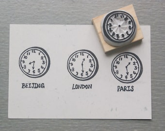 Blank Clock Stamp(A clock without minute hand and second hand) hand carved stamp. rubber stamp.mounted.
