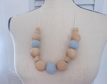 Wool felt and wood bead necklace, blue wool felt ball necklace