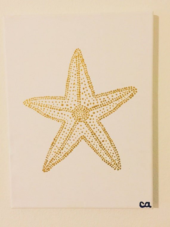 Gold Starfish Painting Acrylic on Canvas Pointillism Cute