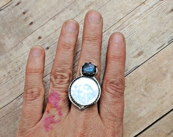Mirrored Scrying Ring with Blue Labradorite, 6 7 8 9 10, unique graduation gift for goth teen girl, Spring birthday gift for witch or wiccan