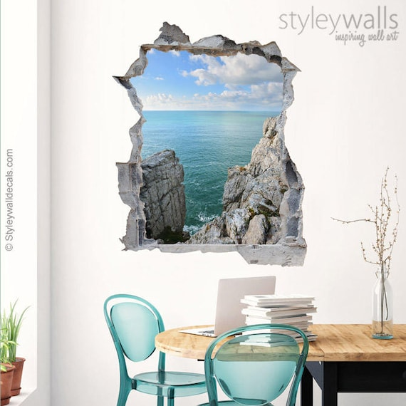 felsen wand wandtattoo sea view loch in der wand 3d effekt. Black Bedroom Furniture Sets. Home Design Ideas