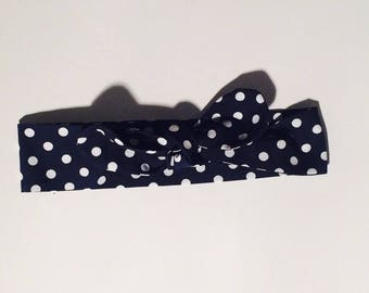 Headband / adjustable headband for baby and blue vintage style white dots. French manufacturing