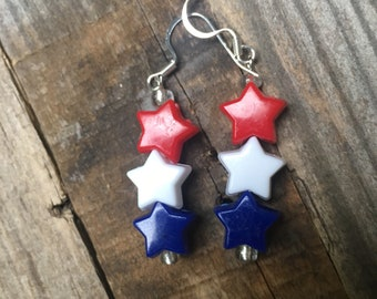 Red, White, and Blue Patriotic Star Earrings
