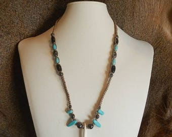 Totem Turquoise Coyote Tooth Necklace - Genuine Turquoise - Custom Hemp Jewelry - Brown Hemp all Natural Jewelry - Hematite Jewelry