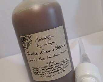 FREE SHIPPING-ORGANIC-Vegan-Vanilla Bean & Oatmeal Jasmine Green Tea Facial Cleanser-for sensitive skin-soothing- 8 oz.