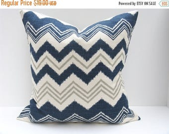 15% Off Sale Decorative Pillow covers Throw Pillow Cover Lumbar Pillow Cover  ONE 16x20 Missoni Pillow Gray Blue Pillow Accent Pillows  Chev