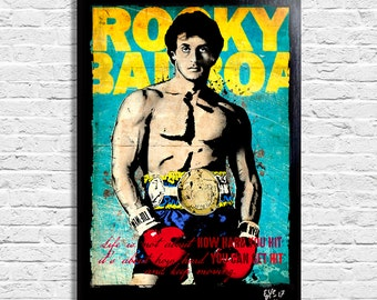 Sylvester Stallone as Rocky Balboa - Original framed fine art painting, poster, canvas, artwork, movie poster, creed, pop art