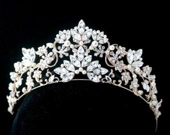 Bridal Crown Bridal Tiara Rose Gold Wedding Tiara Swarovski Crystal Crown Tiara  Wedding Bridal Tiara Headpiece SIAN