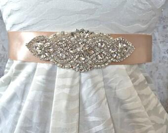 Bridal Sash, Wedding Sash, Rhinestone Wedding Sash, Rhinestone Wedding Belt, Wedding Dress Sash, Blush Bridal Sash, Blush Sash, Bridal Belt