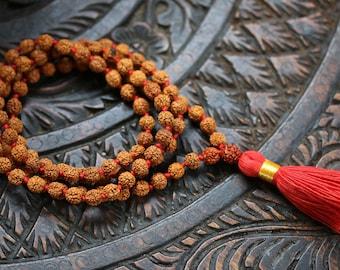 Five face Rudraksha Mala 108+1 Beads - Handmade 8MM Rudraksha Mala - Rudraksha Japa Mala 8MM - 5 Face Rudraksha Mala - lord Shiva Japa Mala