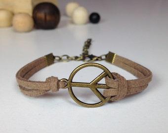 Bronze peace bracelet 24 colors Pacific bracelet Peace sign jewelry Peace charm bracelet Dainty peace jewelry Peace hippie bracelet anti war