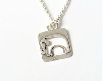 Sterling Silver Rectengle Elephant Charm Necklace, Sterling Silver Charm Necklace, Minimalist Necklace, Simple Everyday Necklace.