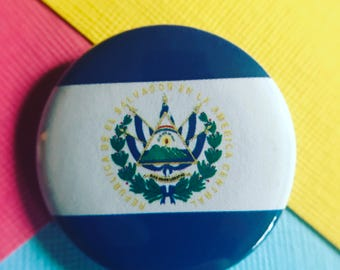 El Salvador Flag Pinback Button, El Salvador Flag Magnet, El Salvador Flag Keychain, El Salvador Flag Backpack Pin, El Salvador Flag Badge