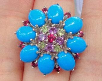 Sz 7, Turquoise Ring, Vintage Jewelry, Sterling Silver 925, Multi Gemstone Ring, Peridot, Amethyst, Garnet, Flower Design, Vintage Treasure