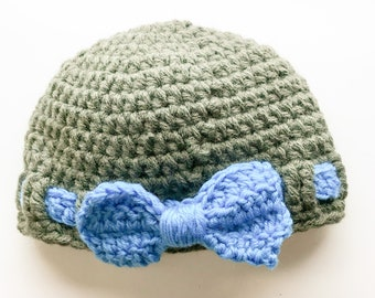 Grey Crochet Baby Hat With Blue Bow Newborn Beanie Baby Shower Christening Gift Christmas Birthday Present, Girl Boy Easter Hat, Handmade