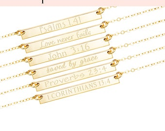 Custom Bar Necklace, Personalized Bar Necklace, Bible Verse Necklace, Scripture Necklace, Engraved Necklace, Silver Gold Fill Rose, H425/35