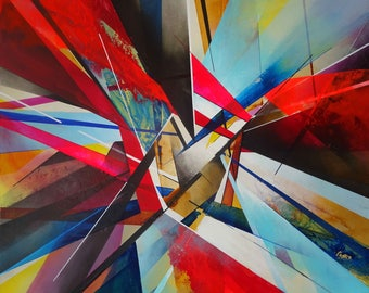 Large colourful abstract painting on canvas by artist Simon Kenny 'Construct Theory'