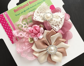 Couture vintage flower hair bow -ivory pink mauve tan bow-couture fabric  hair bow-vintage pink ivory tan hair bow-ivory mauve pink hair bow