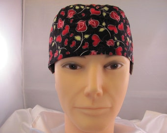 Men's Scrub Hat Hearts and Roses