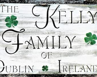 Custom Irish Family Heritage Sign, Personalized Family Established Name Date Rustic Pine Wood Plaque, Shamrock Irish Family Heritage Sign