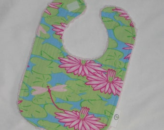 Dragonflies and Water Lilies Fabric and Chenille Boutique Bib