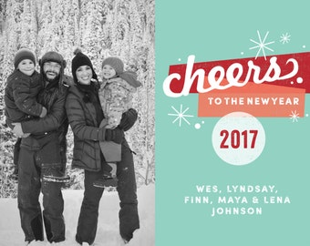 Cheers Printable 5x7 New Years Card with Photos